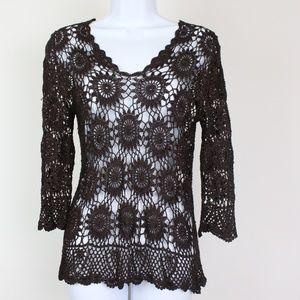 Tops - Plum brown 3/4 sleeve crochet top, overlay style